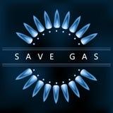 Salvar o gás, chama azul do gás, economia de energia Fotografia de Stock