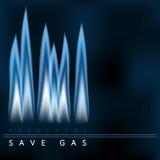 Salvar o gás, chama azul do gás, economia de energia Imagens de Stock Royalty Free