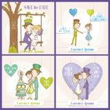 Salvar o grupo de cartão do casamento da data Fotografia de Stock Royalty Free