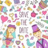 Salvar o grupo do vetor dos ícones da garatuja do casamento da data Fotografia de Stock Royalty Free