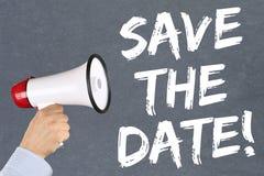 Salvar o megafone da informação de mensagem do convite da data foto de stock royalty free
