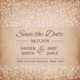 Salvar o molde do convite do casamento da data Textura de papel do vintage Ilustração do vetor Imagens de Stock