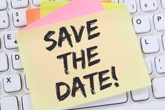 Salvar o papel de nota da informação de negócios da mensagem do convite da data Fotos de Stock