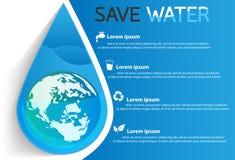Salvar o projeto gráfico da informação da água Imagens de Stock
