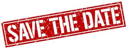 salvar o selo do quadrado da data ilustração do vetor