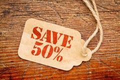 Salvar o sinal de 50 por cento em um preço Fotos de Stock Royalty Free