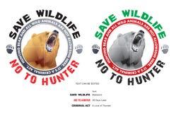 Salvar o urso e salvar animais selvagens ilustração stock