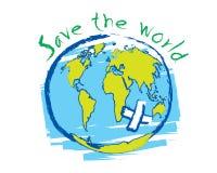 Salvar o vetor do conceito da ideia do esboço do mundo Fotos de Stock Royalty Free