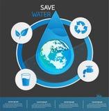 Salvar o vetor ou o fundo do projeto gráfico da informação da água Fotografia de Stock Royalty Free