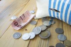 salvar a textura leitão da listra da caixa da moeda Imagens de Stock Royalty Free