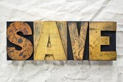 Salvar a tipografia Foto de Stock