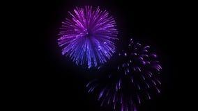 Salvas consecutivas dos fogos de artifício isoladas no fundo preto 3d animação 3d para render perto acima da vista 1 colorido ilustração stock