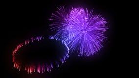Salvas consecutivas dos fogos de artifício isoladas no fundo preto 3d animação 3d para render perto acima da vista 2 coloridos ilustração stock