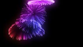 Salvas consecutivas dos fogos de artifício isoladas no fundo preto 3d animação 3d para render perto acima da vista 4 coloridos ilustração do vetor