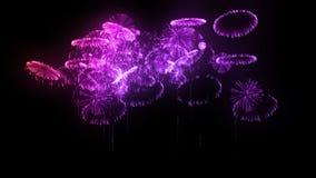 Salvas múltiplas dos fogos de artifício isolados no fundo preto 3d animação 3d para render Fogos de artifício complexos coloridos ilustração do vetor