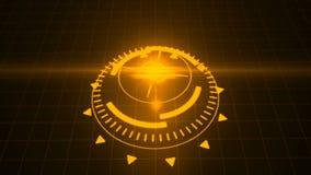 Salvaschermo futuristico con l'ologramma di codice Digitale alta tecnologia dell'obiettivo di HUD Heads Up Display Scanner colto  illustrazione vettoriale