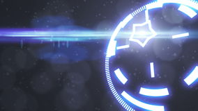 Salvaschermo futuristico con l'ologramma di codice Digitale alta tecnologia dell'obiettivo di HUD Heads Up Display Scanner colto  illustrazione di stock