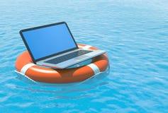 Salvataggio del software del computer portatile Fotografie Stock Libere da Diritti