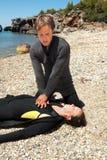 Salvataggio dell'operatore subacqueo Fotografia Stock Libera da Diritti