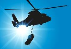 Salvataggio di una vittima tramite l'elicottero ed il trasporto all'ospedale in elicottero illustrazione di stock