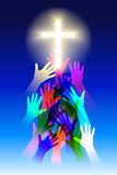 Salvation. Raster silhouette graphic depicting hands reaching for the Cross (concept: salvation Royalty Free Stock Images