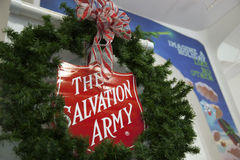 Salvation Army Christmas. The Salvation Army Christmas Shield sign in Tacoma Washington Mall Friday November 14, 2014. This was the launch of the Giving Tree for royalty free stock photography