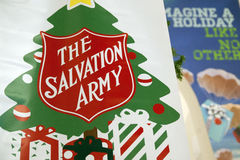 Salvation Army Giving Tree. The Salvation Army Giving Tree sign with shield stock photos