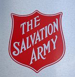 The Salvation Army Logo sign at one of help centers. stock image