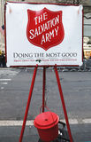 Salvation Army red kettle for collections in midtown Manhattan Stock Images