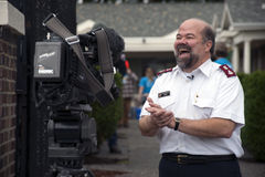 Salvation Army Volunteers. Major Don Sheppard of The Salvation Army, Tacoma, Washington Corps, during an interview with K5 TV, thanks community volunteers for stock photography
