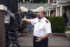 Salvation Army Volunteers. Major Don Sheppard of The Salvation Army, Tacoma, Washington Corps, during an interview with K5 TV, thanks community volunteers for stock image