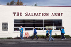 Salvation Army Volunteers. The Salvation Army, Tacoma, Washington Corps volunteers helping at the Jarvie Memorial Family Lodge in Tacoma, WA on Saturday October royalty free stock photo