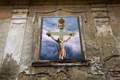 Jesus Christ INRI son of God. Salvation is being saved or protected from harm or being saved or delivered from a dire situation. In Christian religion, salvation royalty free stock photography