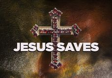 Jesus Saves. Salvation  is being saved or protected from harm or being saved or delivered from a dire situation. In religion, salvation is stated as the saving Royalty Free Stock Photo