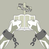 Salvation through faith. The Bible breaks the shackles of man. The hands of man break the chains on the background of the cross and the Bible Royalty Free Stock Photo