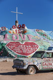 Salvation Mountain and Art Car Stock Image