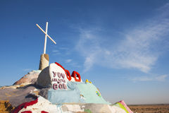 Salvation Mountain Crest. Salvation Mountain outsider art installation at Calipatria, in the Colorado Desert Stock Images