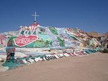 Salvation Mountain, Niland California. Salvation Mountain in Niland California: God is Love Stock Photo
