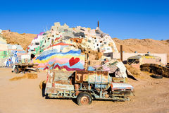 Salvation Mountain Painted Trailer. Painted trailer on the grounds of Salvation Mountain.  The trailer has the word Jesus painted on the side of a barrel that is Royalty Free Stock Photography