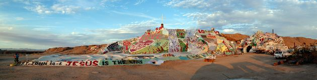 Salvation Mountain Panorama stock photos