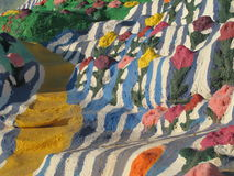 Salvation Mountain stairs and flowers Stock Image