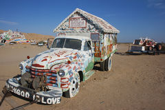 Salvation Mountain Truck. Salvation Mountain outsider art installation at Calipatria, in the Colorado Desert Stock Photography