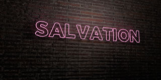 SALVATION -Realistic Neon Sign on Brick Wall background - 3D rendered royalty free stock image. Can be used for online banner ads and direct mailers Royalty Free Stock Photography