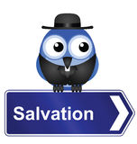 Salvation sign. With clergyman isolated on white background Royalty Free Stock Photography
