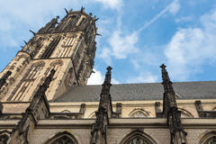 Salvator church with black soot in Duisburg, Germany Royalty Free Stock Image