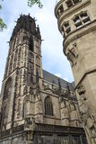 Salvator Church in Duisburg Germany. A picture of Salvator Church in Duisburg, Germany with a view of the tower and façade, a portion of the city hall royalty free stock photo