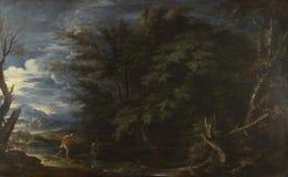Salvator Rosa - Landschap met Mercury en de Oneerlijke Houthakker royalty-vrije stock afbeeldingen