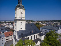 Salvatorkirche Gera church salvator aerial view Stock Photos