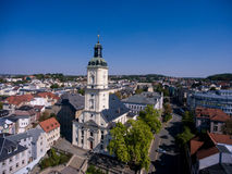Salvatorkirche Gera church salvator aerial view. Thuringia Royalty Free Stock Images