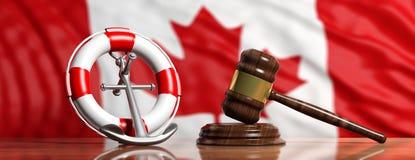 Salvavidas, ancla de la nave y mazo de la justicia en el fondo canadiense de la bandera, bandera ilustración 3D stock de ilustración